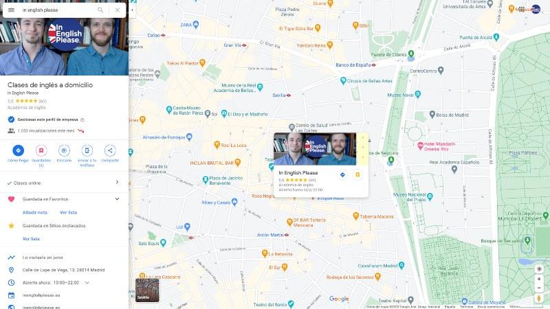 academia de inglés en google maps