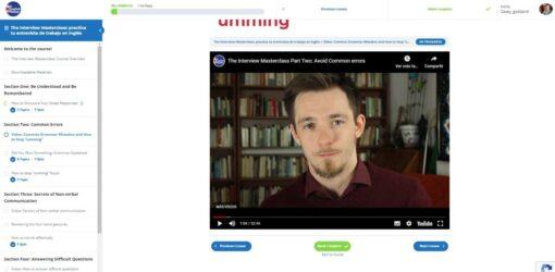 captura curso de inglés para practicar entrevistas de trabajo