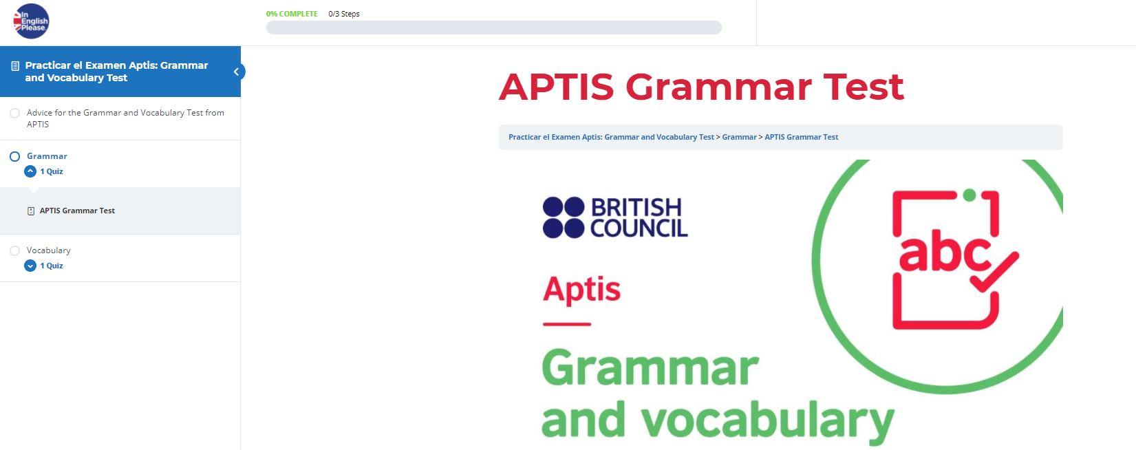 aptis Grammar and vocabulary curso ejemplo del examen de aptis-min